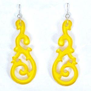 Yellow Lucite Filigree Earrings